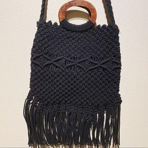 Danielle Nicole Macrame Woven Purse Bag Black Wood